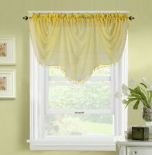1pc BONITA YELLOW  VOILE SHEER VALANCE SWAG TOPPER WINDOW CRYSTAL BEAD FRINGE