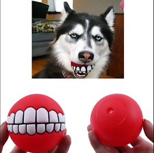 Pet Dog Puppy Cat Teeth Pattern Vinyl Ball Chew Bite Sound Novelty Funny Toy