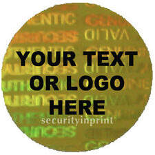 "336 Personalised ""AUTHENTIC"" ""VALID"" Hologram Security stickers labels C20-6G"