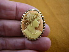 (CS6-19) WOMAN Hair up orange + ivory CAMEO oval Pin brooch PENDANT necklace