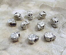 Ten (10) Pewter  Decorative Sugar Skull Beads with  4mm Vertical Holes - 3480