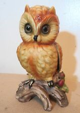 vintage hand painted figural owl porcelain glass electric night table lamp light