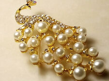 PEACOCK BROOCH.Figural Bird Pin.White Costume Pearls/Radiant Crystals/Gold Tone.