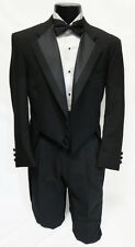 44R Mens Black 100% Wool 2 Button Notch Tuxedo Tailcoat Theater Costume Dickens