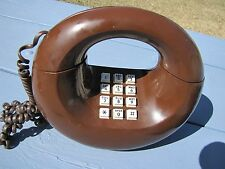Vintage Retro 1980's AT&T Brown Sculptural Lunar Moon Donut Telephone Art Deco