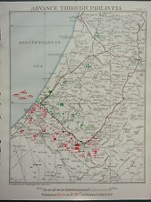 1918 WW1 MAP EGYPTIAN EXPEDITIONARY FORCE ADVANCE THROUGH PHILISTIA 31 OCT 1917