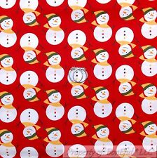 BonEful FABRIC Cotton Quilt Red Green White Snowman Country Small Xmas VTG SCRAP