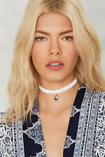 VANESSA MOONEY White Lace Choker Necklace w/ Gold Tone Abalone Charm NEW