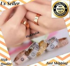 Gold Silver Rose Gold Stainless Ring Screw Love Band Men women 5,6,7,8,9,10,11