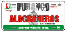 "Alacraneros de Durango License Plate Window Sticker Vinyl Decal 6"" x 3"""