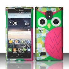 Design Rubberized Hard Case for LG Spectrum 2 VS930 - Green Pink Owl