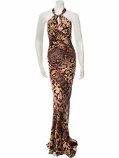 GORGEOUS SOLD OUT NEW $5,385 ROBERTO CAVALLI SILK HALTER DRESS