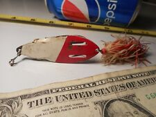 Vintage Spring Loaded Weedless Lure Spoon BORGEN'S Collectible Lures Red White