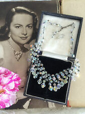 Vintage 50s Aurora Borealis AB Crystal Drop Fringe Necklace. Bridal. Party. GIFT
