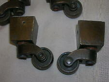 Vintage Set of 4 Brass End Table Tapered Casters Original Brads