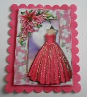 PACK 2 PINK BALLGOWN EMBELLISHMENT TOPPERS FOR CARDS AND CRAFTS