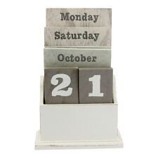 Natural Wood Wash Wooden Calendar Gisela Graham Block Perpetual  Shabby Chic