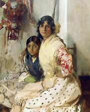 FRENCH GYPSY WOMAN MOTHER & DAUGHTER PORTRAIT PAINTING ART REAL CANVAS PRINT