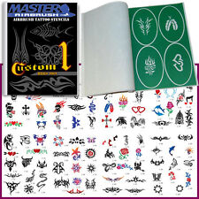 SET 1 BOOK 100 Reusable Airbrush Temporary Tattoo Stencil Art Designs Templates