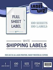 "Full Sheet shipping Label - by Jayzi® - 8.5"" x 11"" Same size as Avery® 5165 100"