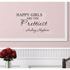 Happy Girls are the Prettiest Audrey Hepburn Quote Wall Sticker Bedroom Decor