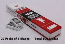 100 FEATHER Hi-Stainless Platinum Double Edge Razor Blades 5's Made in Japan.