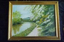 Pintura al óleo originales, Inglés Escena Rural canal, Canal, Towpath, Barco, Casa.