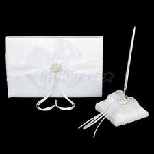 White Pearl Crystal Flower Lace Bow Wedding Party Guest Book & Pen Stand Set