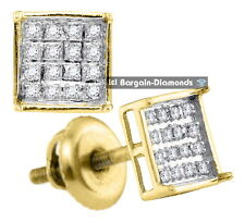 diamond .10 carats 10K gold square stud screwback earrings men ladies unisex