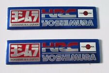 2x HRC Yoshimura Japan Aluminum Plate Decal Exhaust System Sticker Blue