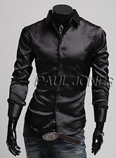 Hot Luxury Men's Slim Fit Muscle Silk-Like Satin Collared Casual Shirts Tops new