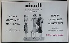 PUBLICITE NICOLL COSTUMES DE CHEVAL ROBES MANTEAUX DE 1927 FRENCH AD ART DECO