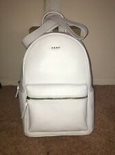 DKNY HEAVY NAPPA LEATHER FASHION BACKPACK BOOKBAG MSRP $350 WHITE