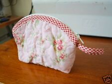 Shabby Rose Cotton Quilted Purse / Makeup Bag