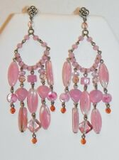 Lovely Dangling Pink Art Glass Bead Silver Tone Pierced Chandelier Earrings