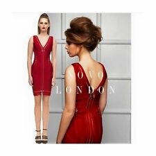 Novo London Zip Bandage Bodycon Stretch Dress‏ Deep Red UK Medium 8-10 BY96