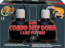 Zoo Med Mini Combo Deep Dome Lamp Fixture, Black, New, Free Shipping