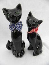 Pr. Vintage Ceramic Black Cat Figures w/Calico Red & Blue Bows, Green Eyes