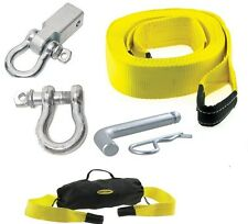 "SmittyBilt CC330 Tow Strap 3"" x 30' 30,000 lb. Recover Kit, D-Ring, Receiver+Bag"