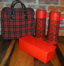 Vintage Aladdin Red Plaid Picnic Lunch Kit Thermos Sandwich Box Bag Date Night