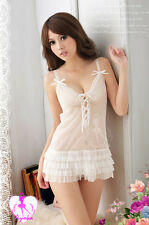Lady White Transparent Gauze Lingerie Sexy Deep V-neck Sleep Dress+G-string