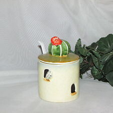 ANTIQUE CROWN DEVON JAM JELLY JAR CACTUS HONEY MUSTARD POT CONDIMENT ENGLAND