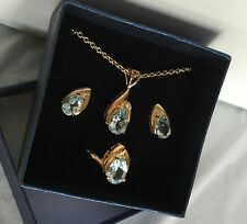 "QVC Gold Plated Pendant Ring Earrings Set 14K Blue Topaz 18"" Chain Ring Size 7"