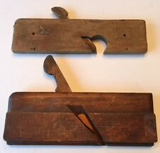 Pair Of Primitive Antique Vintage Woodworking Tool Wooden Molding Planes