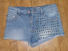 Glamorous Blue Silver Spike Studded Denim Shorts UK 10