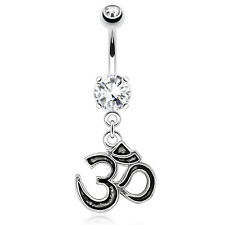 1 Pc Om Symbol Casting Style & Outlined Dangle 316L Surgical Steel Belly Ring