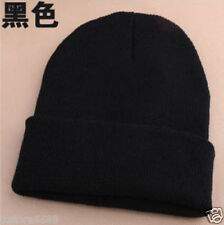 Men's Women Beanie Knit Ski Cap Hip-Hop Blank black Winter Warm Unisex hat Black