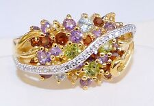 "GENUINE! 2.46cts! Multi-Gemstone Cluster Ring in Solid Sterling 925, Size ""X""!!"
