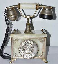 Vintage Onyx and Brass Rotary Dial Telephone - FREE P&P [PL2104]