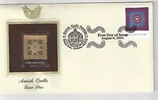 2001 Nappanee Indiana, Amish Quilts, Lone Star  FDC, GOLD FOIL Cachet